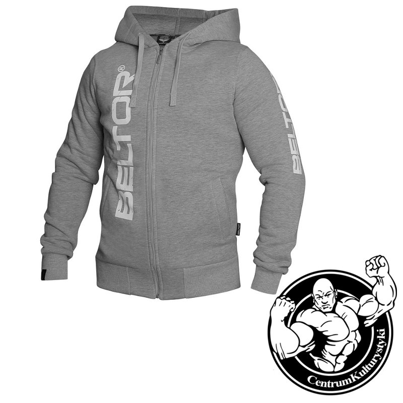 dd58778f3492 Bluza Męska z Kapturem Zip Hoodie Original Grey Melange - Beltor